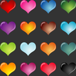 Colored hearts Vector Graphics